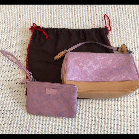 Coach Handbags - Small Pink Coach Purse w/ Matching Wristlet